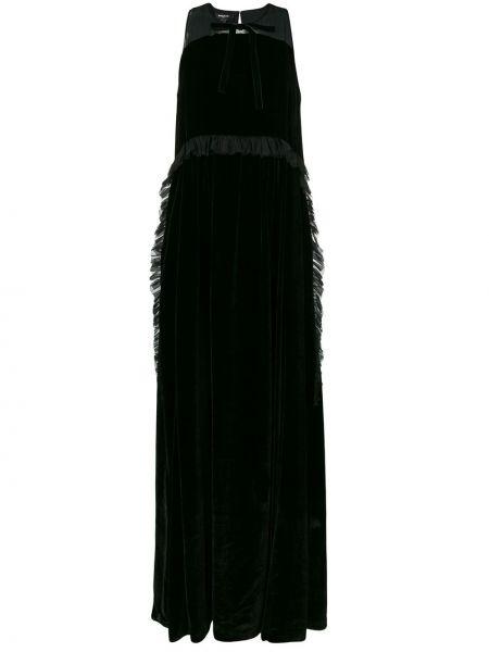 Czarna sukienka długa z frędzlami z jedwabiu Rochas