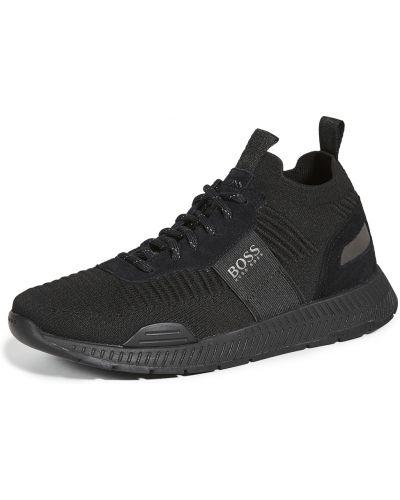 Черные кроссовки беговые для бега на шнурках Boss Hugo Boss