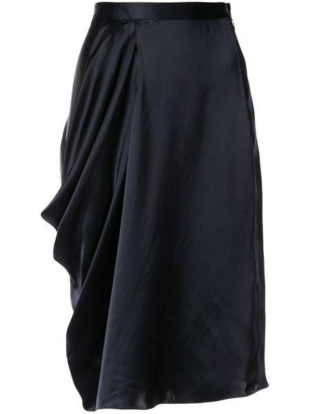 Синяя юбка миди в рубчик с поясом из вискозы Nehera