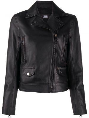 Кожаная куртка на молнии - черная Karl Lagerfeld