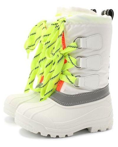 Кожаные белые сапоги на шнуровке Dsquared2