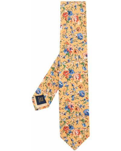 Żółty krawat w kwiaty z jedwabiu Polo Ralph Lauren