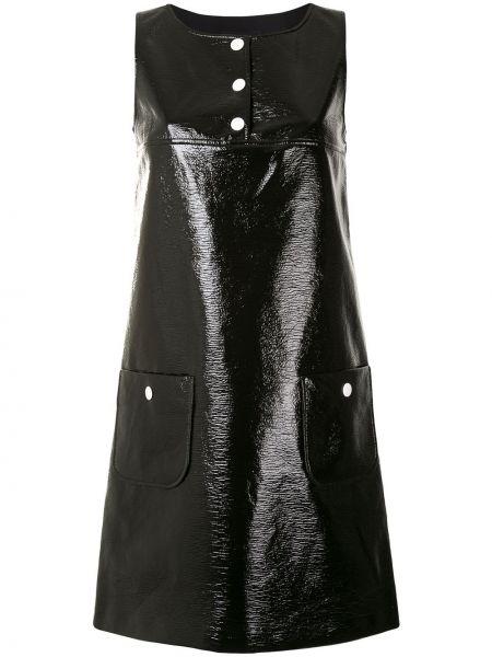 Черное кожаное прямое платье мини с карманами Paule Ka
