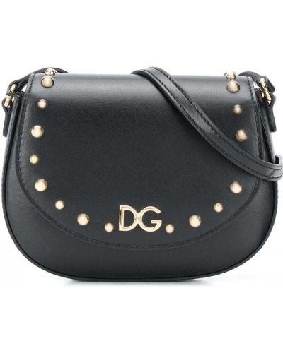 Черная кожаная сумка на плечо с заклепками Dolce & Gabbana Kids
