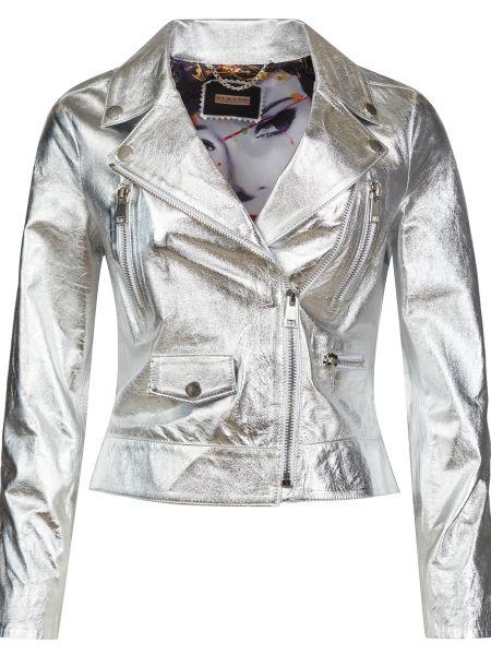 Серебряная кожаная куртка на молнии Albano