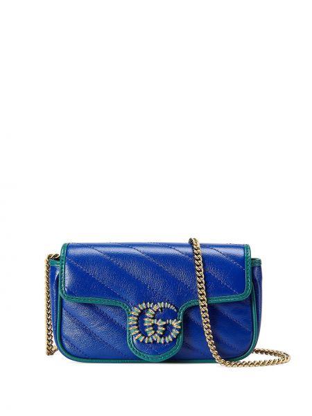 Złota torebka na łańcuszku - niebieska Gucci