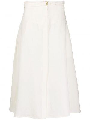 Белая ажурная деловая с завышенной талией юбка макси Le Kasha