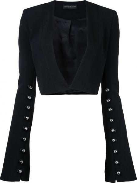 Черный пиджак из вискозы David Koma