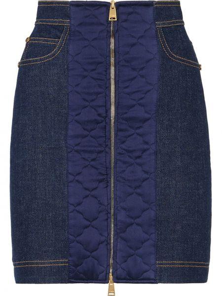 С завышенной талией синяя кожаная джинсовая юбка Fendi