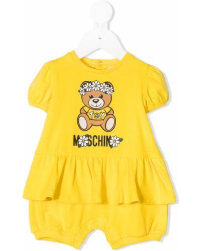 Dres bawełniany - żółty Moschino Kids