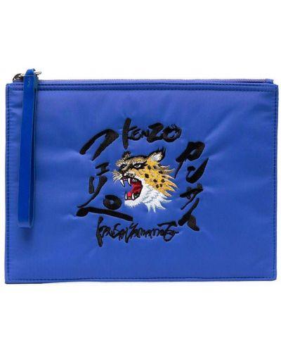 Skórzany niebieski torba sprzęgło z gniazdem Kenzo