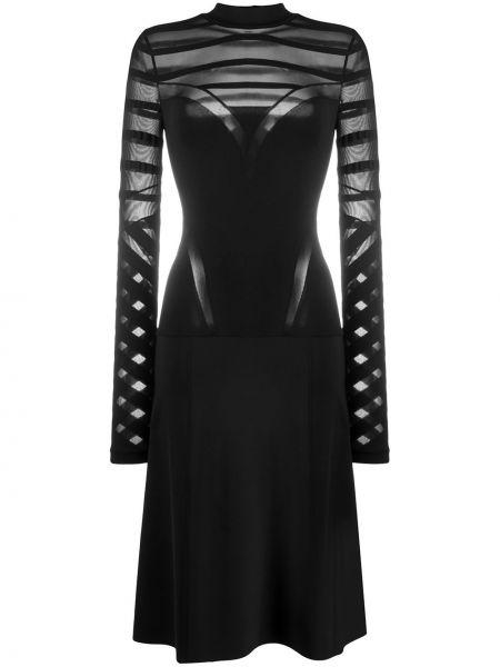 С рукавами черное платье миди с вырезом круглое Wolford