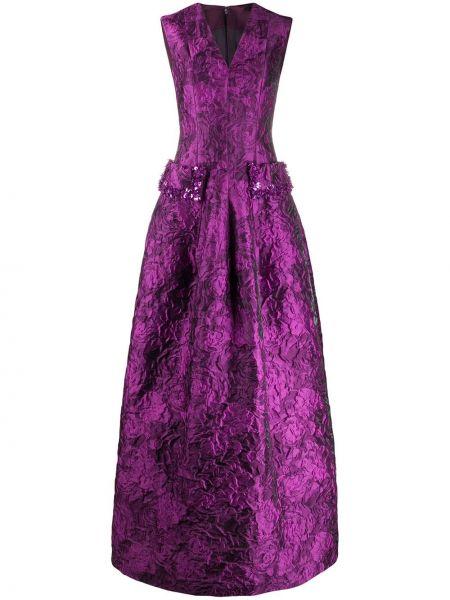 Розовое расклешенное вечернее платье без рукавов из вискозы Talbot Runhof