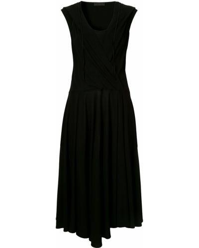 Черное расклешенное приталенное платье миди Anteprima