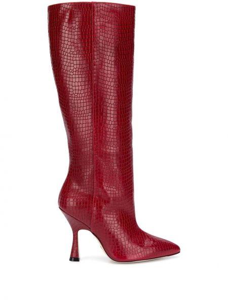 Красные кожаные сапоги на каблуке Stuart Weitzman
