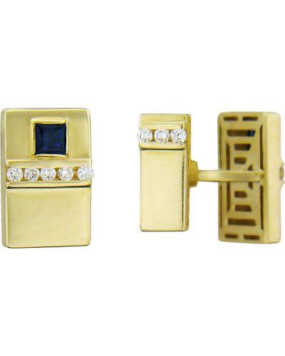 Запонки квадратные из золота эстет