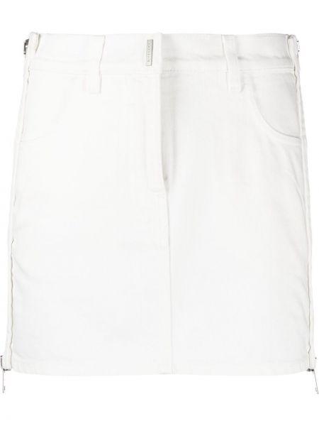 Spódnica jeansowa z paskiem - biała Givenchy