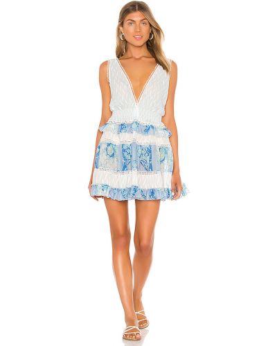 Niebieska sukienka mini z jedwabiu z printem Chio