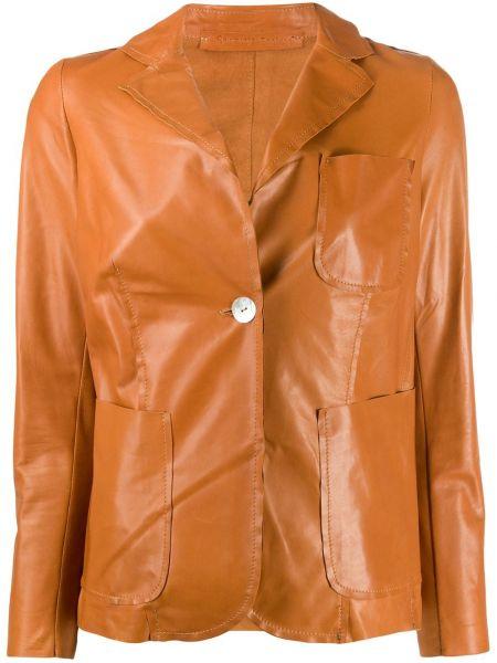 Коричневый приталенный кожаный удлиненный пиджак Salvatore Santoro
