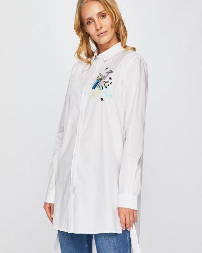 Джинсовое платье с вышивкой однотонное Trussardi Jeans