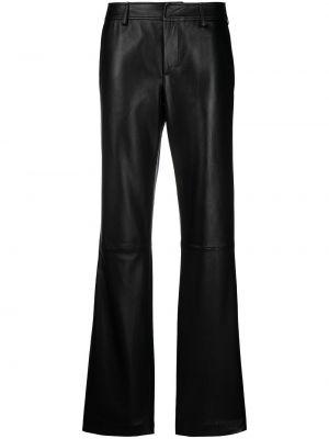 Расклешенные кожаные черные брюки Simonetta Ravizza