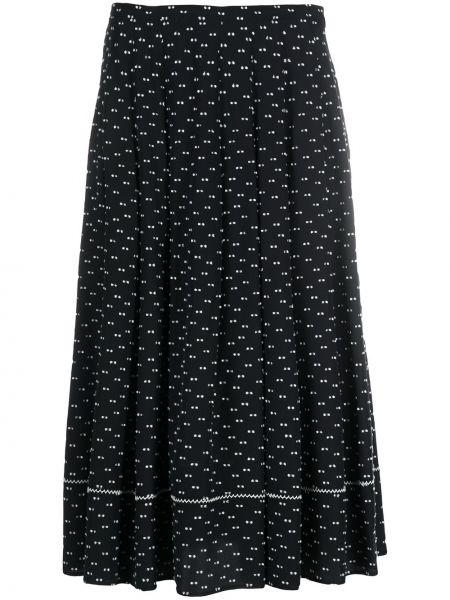 Шелковая черная с завышенной талией плиссированная юбка на молнии Ports 1961