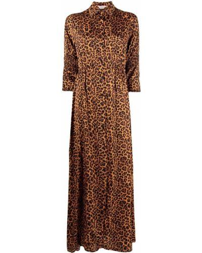 Оранжевое прямое платье макси с воротником Laneus