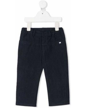 Niebieskie spodnie bawełniane z paskiem Baby Dior
