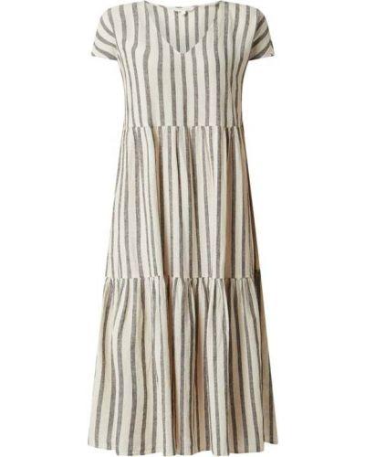 Sukienka midi w paski - beżowa Tom Tailor Denim