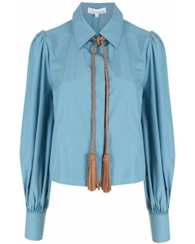 Хлопковая синяя классическая рубашка с воротником НК
