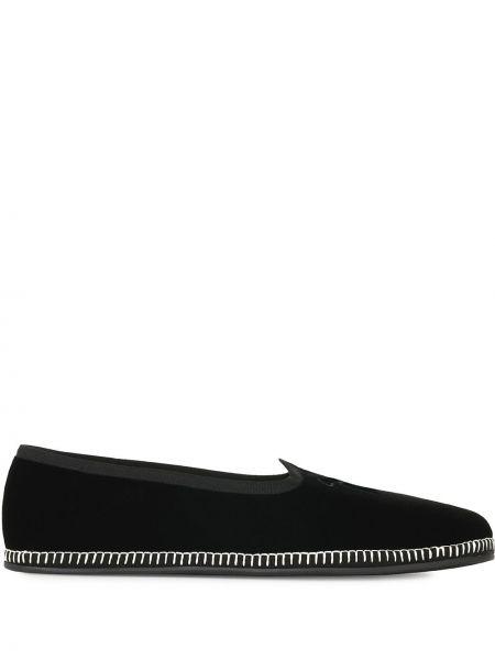Czarny loafers z prawdziwej skóry z haftem Giuseppe Zanotti