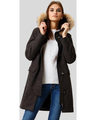Пальто с енотом шерстяное Finn Flare