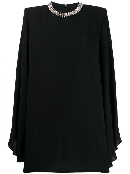 Черное платье макси свободного кроя с камнями Stella Mccartney