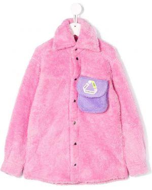 С рукавами розовая куртка с карманами на кнопках Natasha Zinko Kids