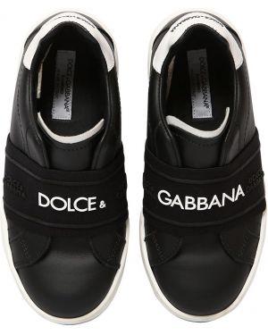 Sneakersy skórzany na gumce Dolce And Gabbana