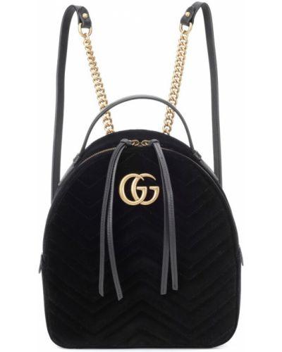 Skórzany plecak włókienniczy aksamit Gucci