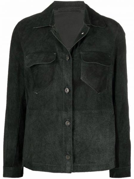 Серая рубашка с карманами на пуговицах с воротником Salvatore Santoro