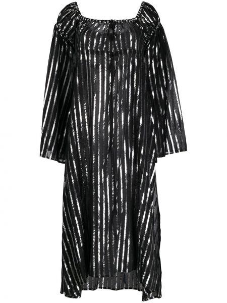 Czarna sukienka długa w paski z długimi rękawami Attico