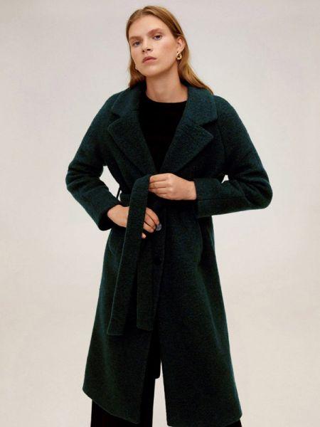 Зеленое пальто с капюшоном Mango