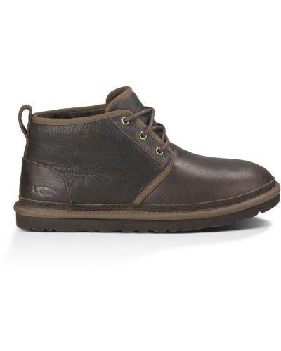 Коричневые кожаные ботинки с подкладкой Ugg