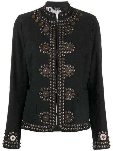 Приталенная черная длинная куртка с воротником с подкладкой Bazar Deluxe