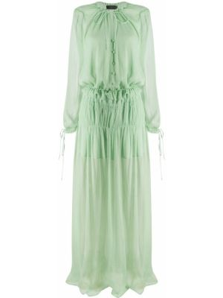Шелковое платье макси с длинными рукавами с манжетами с круглым вырезом Amiri