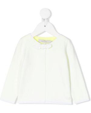 Biały kardigan z długimi rękawami bawełniany Baby Dior