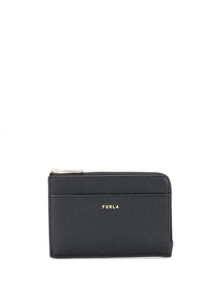 Черный кожаный кошелек круглый со шлицей из натуральной кожи Furla