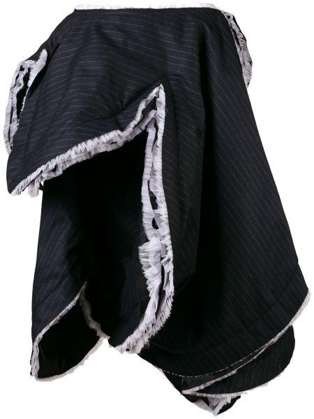 Шерстяная синяя юбка в полоску Comme Des Garçons