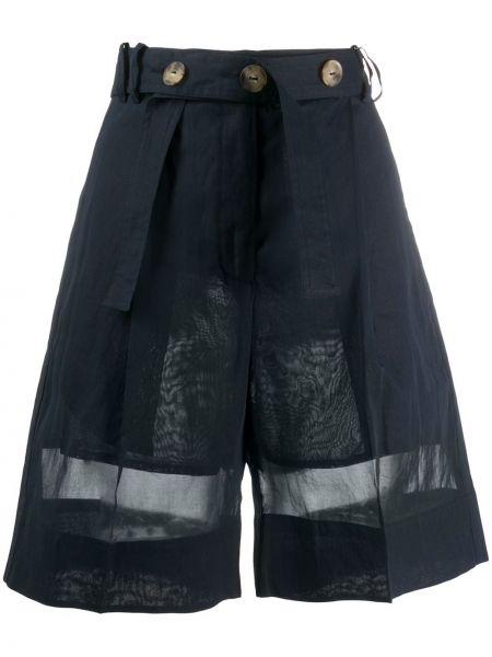 Однобортные синие шорты со складками из органзы Eudon Choi