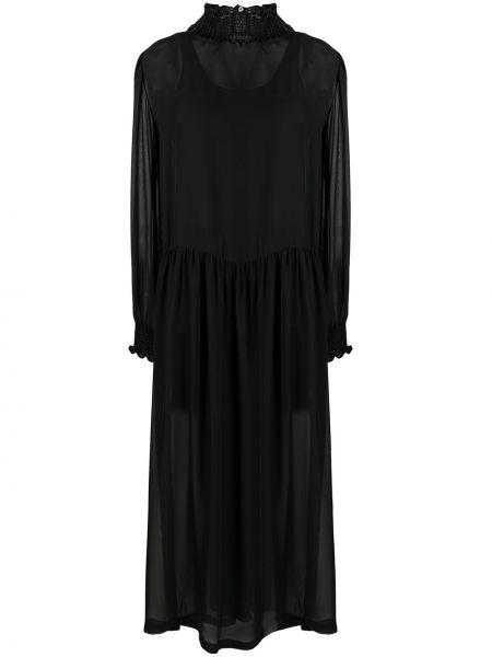 С рукавами черное платье макси с подкладкой SociÉtÉ Anonyme