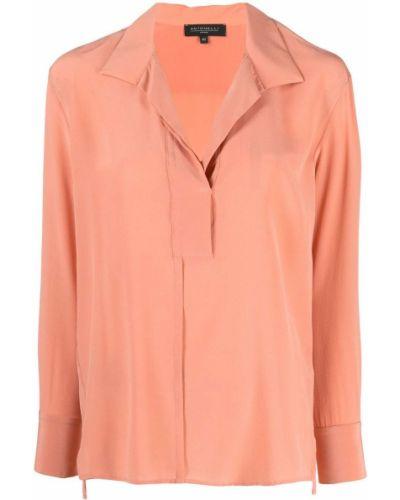 Шелковая с рукавами блузка с воротником Antonelli