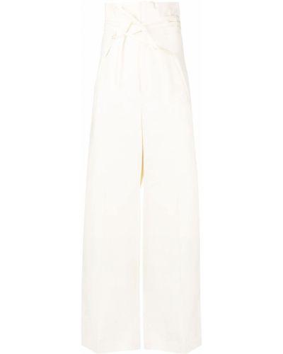 Beżowe spodnie z wysokim stanem bawełniane Jacquemus