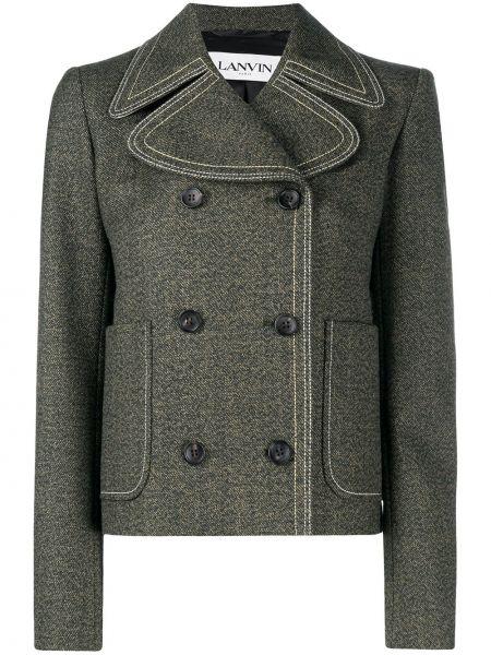 Зеленый кожаный пиджак двубортный Lanvin